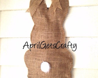 Easter Bunny Hanging, Burlap Bunny Hanging, Bunny Door Hanger, Easter Bunny Hanging,  Indoor Outdoor Easter Decor Door Wreath Rustic