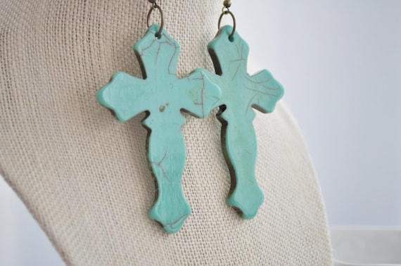 Turquoise Statement Earrings, Copper Cross Earrings Large Crackle Turquoise Acrylic