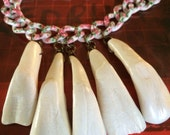 Floral Buffalo Tooth Necklace
