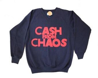 "CASH From CHAOS - Punk Slogan  Sweater- V Neck - Screenprinted Navy Blue Jumper Large XL 42"""