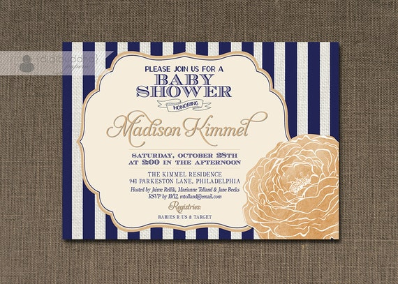 Navy And Peach Wedding Invitations: Navy & Peach Bloom Baby Shower Invitation Shabby Chic Navy
