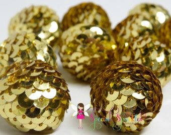 Gold Sequin Beads 12 Beads 24mm Big Chunky Sparkling Beads