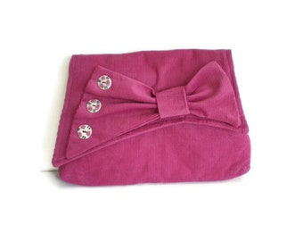 1930's Vintage Inspired Clutch Bag Raspberry Geranium Pink British Corduroy Asymmetrical Flap with Bow Purse 1930s Style