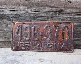 Virginia License Plate Vintage License Plate Rusty VTG 1961 60s Era Muscle Car License Plate VA Rusty Old Collectible Man Cave Sign Garage