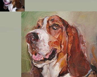 """The CUSTOM Pet Portrait Oil farm animals Painting16X16 """"commissioned Pet Memorial Birthday Gift --aoteam"""