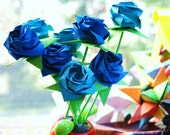 Bouquet of 12 Blue Origami Roses