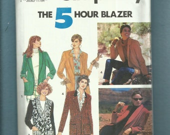 Simplicity 7522 Notched or Shawl Collar Jackets with Optional Lining Sizes 10 to 16 UNCUT