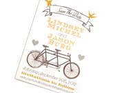 Tandem Bicycle Invitation: Vintage, Modern Wedding or Save the Date Card