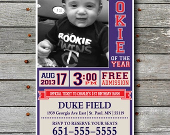 Baseball Ticket  Birthday Invitation - You Print