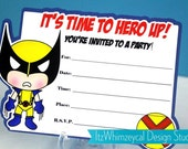 Classic Wolverine Superhero Fill In The Blank Birthday Invitation