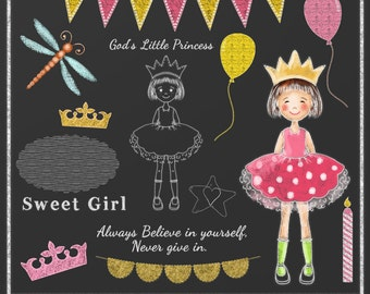 Chalkboard Clipart Princess 1, Chalk drawing, Princess Clipart, Instant download