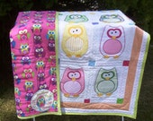 Owl Applique Baby Quilt w/ fleece back and hanging sleeve  52 inches W x 61 inches L