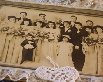 Upcycled Vintage Cabinet Card-Repurposed Antique Photo ~ Wedding PHOTO Home Decor