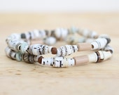 Earthy Paper Bead Bracelet Set, Made From Recycled Book Pages, Engineer Gift, Math Lover, Tan and White, Nerd Bracelet Set