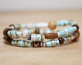 Teal and Tan Bracelet Set, Sea Foam Green and Brown, Made From Recycled Book Pages, Teacher Gift, Organic Bracelet Set