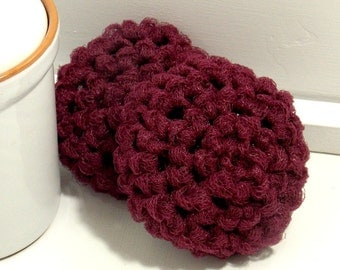 Eco Friendly Kitchen Scrubber, Crochet Scrubbies, Burgundy Scrubby, Nylon Dish Scrubbies, Crochet Scrubby, Set of 2 Handmade Scouring Pads