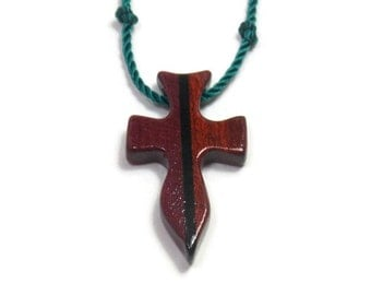 Cross Necklace - Wooden Cross Pendant - Handcrafted Purpleheart, Ebony & Bloodwood