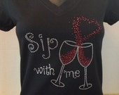 Sip With Me Bling Tee - Girls Night Out