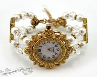 White Pearl Bracelet Watch, wrist watch, white watch, ladies bead watch, bridal gift, bridesmaid gift, adjustable watch, wedding jewelry