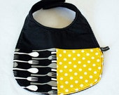 Baby bib - cutlery, black, yellow, limited edition (UK seller)