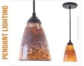 Blown Glass Pendant Lights, Hanging Pendants, Pendant Lighting - SandStone A-Line Shade with Black Cord Hardware Kit
