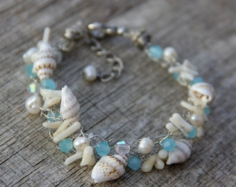 Teal chunky crochete wiring beach shell pearl bracelet Bridesmaids gifts Free US Shipping handmade Anni Designs