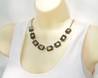 Black and Gold Beaded Choker - Flat Black Glass Beads with Gold Metal Accent Bead Choker Necklace
