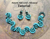 Cellini Spiral bracelet and earrings beadweaving beading pattern tutorial - beadwoven beaded seed bead jewelry instructions - BLUE WAVE