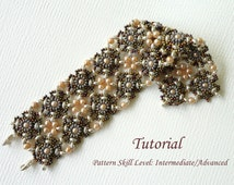DOUBLE VISION beaded bracelet beading tutorials and patterns superduo beadwork jewelry beadweaving tutorials beading pattern instructions