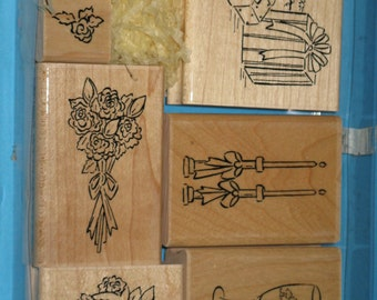 CTMH WEDDING Bridal, Bride, Groom Rubber Stamp Set  Wood Mounted  - Vintage Set of 6 Wood Mounts NEW