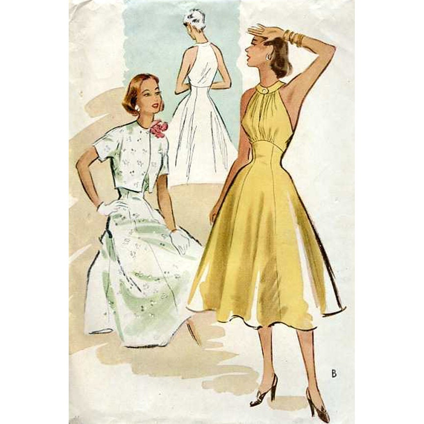 1950s style high waist circle skirt dress with gathered bust
