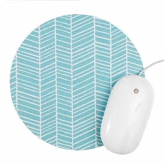 Herringbone Mouse Pad / Chevron Aqua and White / Round Mousepad / Office Home Decor