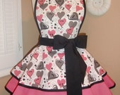 Valentine's Swirly Heart Print Womans Retro Apron With Tiered Skirt And Bib...Last One Available