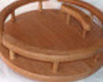 Maple lazy susan with napkin holder