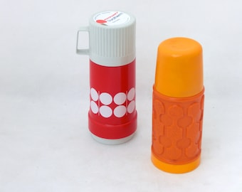 Vintage Pair of Thermoses from Germany 80s - Orange / White / Red