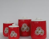 Mod Flower Power Bright Red Metal Canister Set