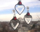 January Birthstone Heart|Stained Glass Suncatcher|Red Gem|Garnet|Art & Collectibles|Glass Art|Suncatchers|Handcrafted|Made in USA