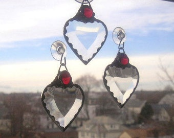 July Birthstone Heart|Stained Glass Suncatcher|Red Gem|Ruby|July Birthday|Art & Collectibles|Glass Art|Suncatchers|Handcrafted|Made in USA