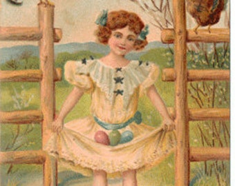 Vintage Easter postcard, Girl with Easter Eggs in Dress, Chicks and Roosters, ca 1910