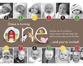 Farm Friends Timeline 1st Birthday Invitation (Unisex) - Digital File