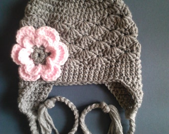 Baby Hat in Gray, Baby Girl Hat, Children Hat in Gray - Made to Order