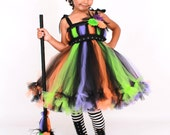 COMPLETE COSTUME - Ready to Ship:  Petti Tutu Dress - Halloween Witch Costume - Multi Color - Twinkling Trickster - 5-6 Youth Girl