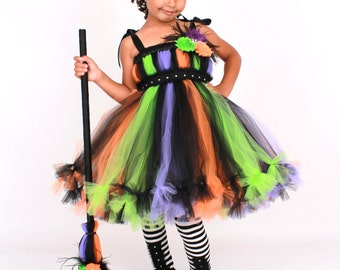 COMPLETE COSTUME - Ready to Ship:  Petti Tutu Dress - Halloween Witch Costume - Multi Color - Twinkling Trickster -12 Month to 2T Girl