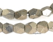 7mm-6mm Iron Pyrite Gemstone Hexagon Nugget Cube Loose Beads 15.5 inch Full Strand (90144985-406)