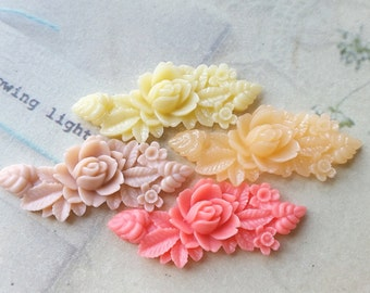 46 mm x 18 mm Resin Flower Cabochons of Assorted Colors (.hm)