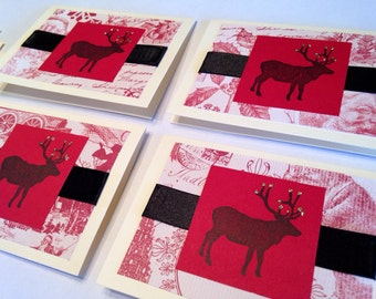 Elk Stamped - Christmas Cream Notecards - set of 4