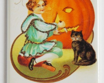 "Halloween ""Girl Carving Pumpkin"" Fridge Magnet"
