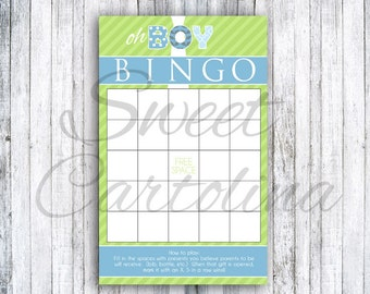 Oh Boy Baby Shower Bingo Game - Set of 20 - **FREE SHIPPING**