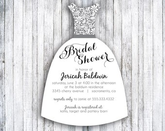 Bridal Shower Die Cut Invitations - Wedding Shower Invitations - Wedding Dress Shape - Set of 25 - Lace