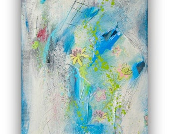 Original Abstract Painting Modern Contemporary art on Canvas Blue Abstract Art Painting by Heroux 15x30 Gallery Canvas